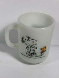 Fire King Snoopy Schulz Mug Milk Glass At Times Life Is Pure Joy 1958-1965