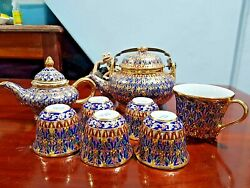 Set Hand Thai Painted Gold Tone Pottery Benjarong Porcelain Cup With Lid Trim
