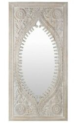 Art Deco And Vintage Indian Hand Carved Wooden Mirror, Rustic Antique Mirror