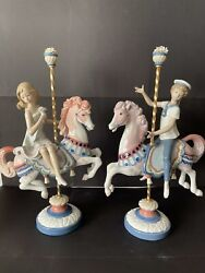 Lladro Retired Collectibles Figurine Boy And Girl On Carousel Horses 1469/1470