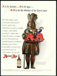 1943 Cigar Store Wooden Indian Photo Ancient Age Bourbon Whiskey Vintage Ad
