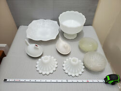 Mixed Lot Of Milk Glass Chicken Hen And Frosted Glass Bowls Vintage Or Antique