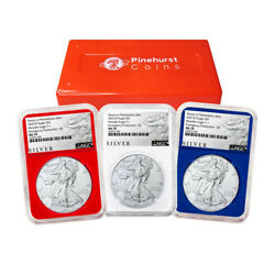 2021 P 1 American Silver Eagle 3pc. Set Ngc Ms70 Emergency Production Als Er