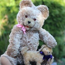 Antique Large Teddy Bear 25.2 W Voice Top Mohair Fur And Antique Educa Dog 1920s