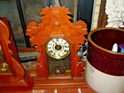 Antique Ingraham Kitchen Clock Chimes The Hour And Half Hour 23 Tall