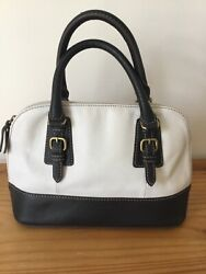 Tignanello White Black Leather Satchel Handbag EUC $29.99