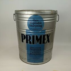 Vtg Primex Pure Vegetable Shortening Advertising Tin Can Container, 110 16x20