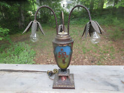 Antique Reverse Painted Ribbed Glass Lamp 3 Shades 3 Down Lights Floral Cameo