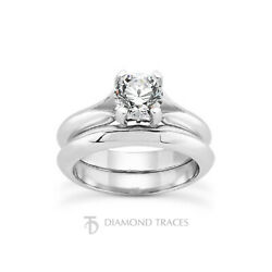 1ct E Vs2 Round Earth Mined Certified Diamond 18k Gold Ring With Matching Band