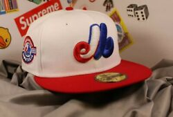 New Era Lids Montreal Expos Team Patch Optic White Hat Size 7 Green Uv