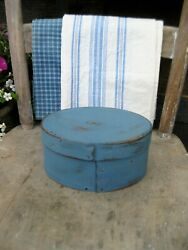 Early Antique Wood Pantry Box French Blue Milk Paint Winchendon Mass.