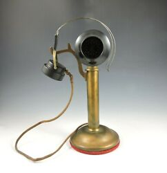 Antique 1915 Western Electric 20AB Brass Candlestick Phone with Headset
