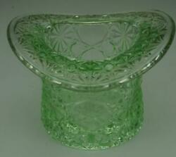 Vintage Fenton Green Glass Top Hat Toothpick Holder Daisy And Button Pattern Ze128