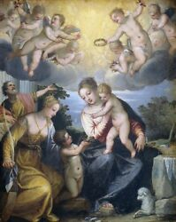 Oil Painting Mary With Child, Little John And Saint Catherine @n13333