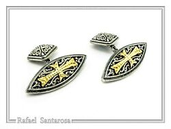 Shield Shape Cufflinks On Sterling Silver Oxidized With Maltese Cross Of Knights