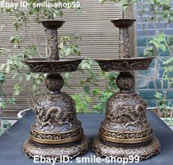 20rare Pure Bronze Dragon Dragons Loong Candle Candlestick Holder Oil Lamp Pair