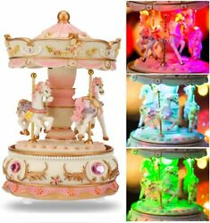 Carousel Horse Music Box Color Changing Led Lights Musical Unicorn For Women Kid
