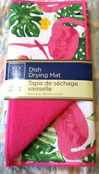 HOME COLLECTION TROPICAL PINK FLAMINGO PRINT DISH DRYING MAT 12quot; X 18quot; NWT