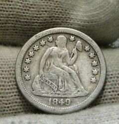 1849 O Seated Liberty Dime 10c - Nice Coin, Key Date 300,000 Minted 9365