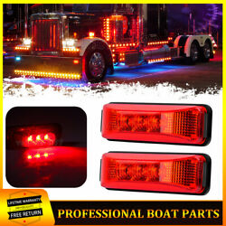 2x Red Exterior Submersible Trailer Marker Lights 12v Clearance Indicators Light