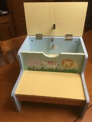 Vintage Painted Wooden Childs Step Stool Animal Theme 2 Steps W/ Compartment