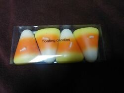 Vintage Halloween 4 Candy Corn Floating Candles New Old Stock Rare Decorations