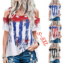 Summer Womens Cold Shoulder Crew Neck T Shirt Casual Flag Print Blouse Loose Top $15.74