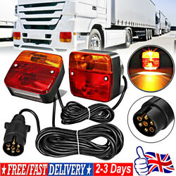 12v Pre Wired Trailer Rear Towing Light Board Lights Lamps + 7.5m Cable With E4