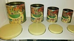 Vintage Meister Farm Country Scene Canisters Metal Tin Can Storage Container