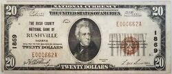 1929 20 Nat'l Currency, The Rush County National Bank Of Rushville, Indiana