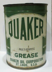 Vintage 1940andrsquos Quaker Oil Corporation 5lb Metal Grease Can -half Full -gas -oil
