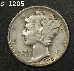 1942/1 Mercury Dime Xf Free S/h After 1st Item