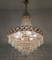 Vintage Brass And Crystals Huge French Chandelier Lighting Ceiling Lamp 1980and039s