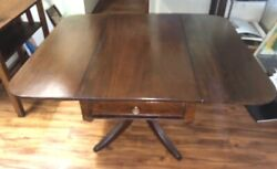 Antique Large Drop Leaf Table Dining Vintage Drw Pulls And Rollers