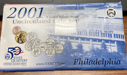 Us Mint 2001 P-d Uncirculated 20 Coin Set With State Quarters In Original Pkg