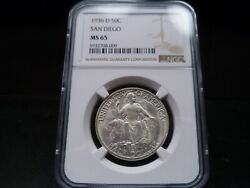 1936-d Ms65 San Diego Silver Commemorative Ngc Certified Gem - Bright White