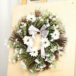 16in Wreath Artificial Garland Floral Door Front Decor Wall Flowers White Purple