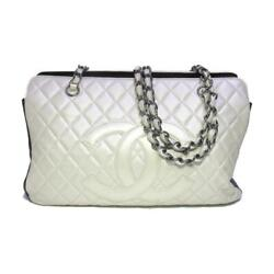 Chain Tote Shoulder Hand Bag Calfskin Leather White Black Used Cc