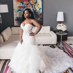 Vintage Sweetheart Wedding Dress Plus Size Lace Up Tiered Skirt Tulle Sleeveless