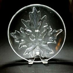 1 One Lalique Montreal Crystal Maple Leaf 9 1/2 Plate Signed Discontinued