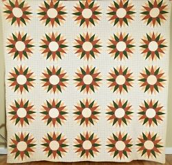 Outstanding Vintage 1870and039s Marinerand039s Compass Antique Quilt Eye Catching Design