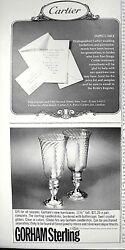 1966 Gorham Sterling Crystal Glass Hurricane Globes, Stationery Paper Ad