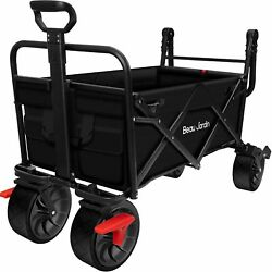 Folding Wagon Cart With Brake Free Standing Collapsible Utility Camping Grocery