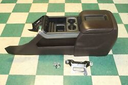 14-15 Gm Truck Brown Leather Floor Center Console Assembly W/o Rear Audio Oem