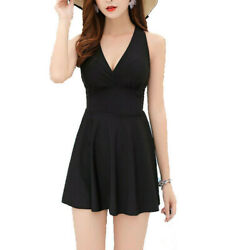 Women One-pieces Swim Dress With Safety Boxer Shorts Swimsuit Flared Skirt