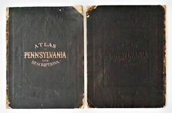 1872 Antique Atlas Cover Title Page Index Only 17.75x13.75 Pennsylvania Topo