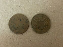 1865 And 1868 Two Cent Piece 2c Ungraded Civil War Era Date Us Copper Coins Lot