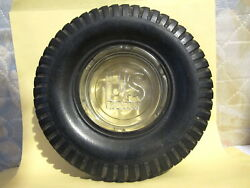 Vintage Mexican Us Royal Fleet Master Tire Ashtray 6.3/4 Soft Rubber -glass