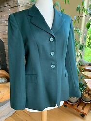 Grand Prix Hunt Show Coat Youth Size 14r 100 Wool Green Jacket Ej52