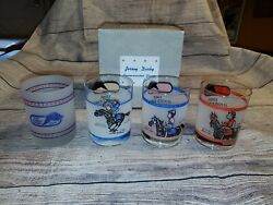 Garden State Park Jersey Derby Horse Race Glass Set Of 4 With Box Rare